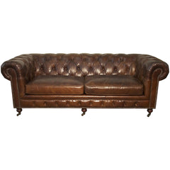 Noir - 3 Seater Tufted Sofa, Brown Vintage Leather