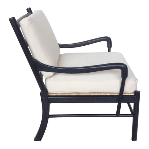 Noir - Kevin Chair w/ Rattan, Hand-Rubbed Black