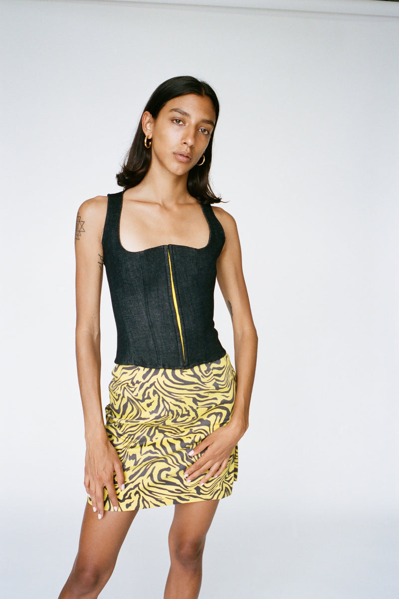 MINI SKIRT - YELLOW ZEBRA