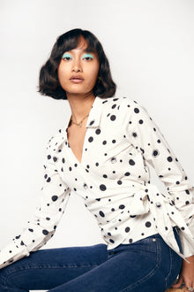 BETSEY TOP - WHITE POLKA DOT