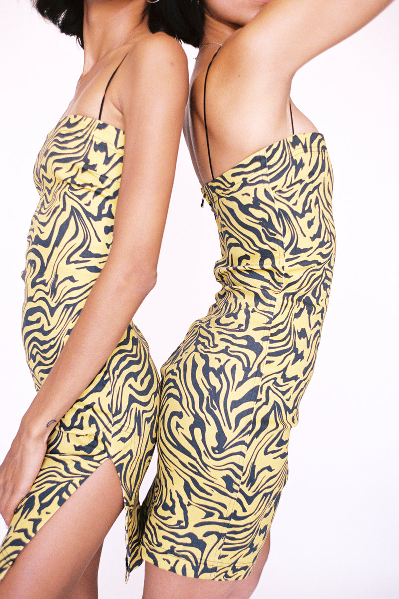 LOTTE DRESS - YELLOW ZEBRA