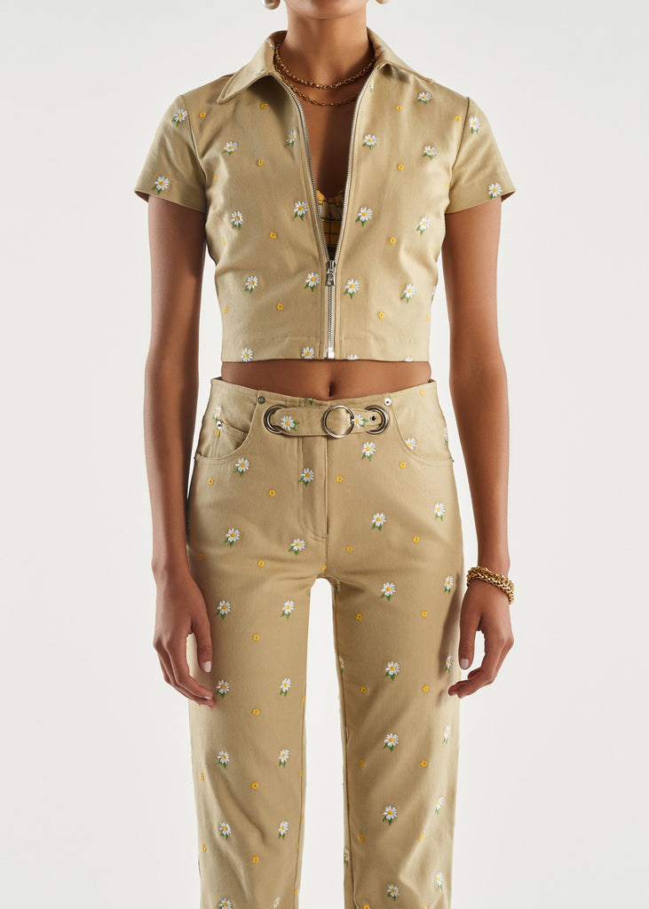 Raquel Top - Khaki Embroidery