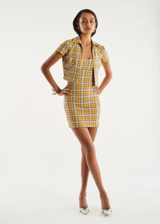 Raquel Top - Yellow Plaid