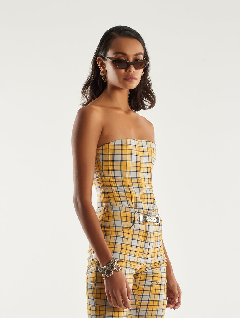 Lucy Corset - Yellow Plaid