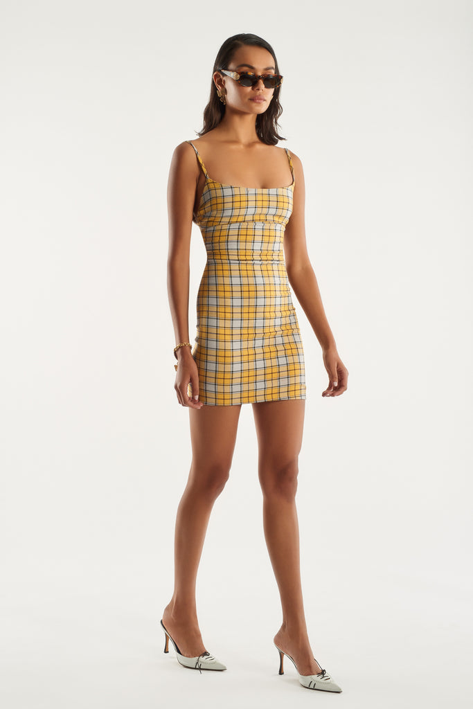 Viki Dress - Yellow Plaid