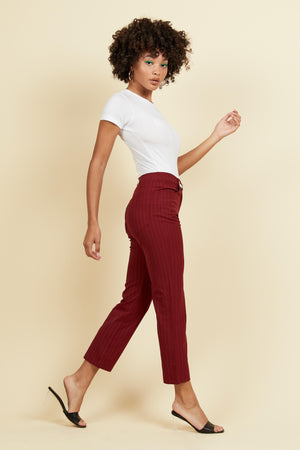 Tommy Pant - Cranberry Pinstripe