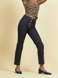 raw denim high waisted jeans