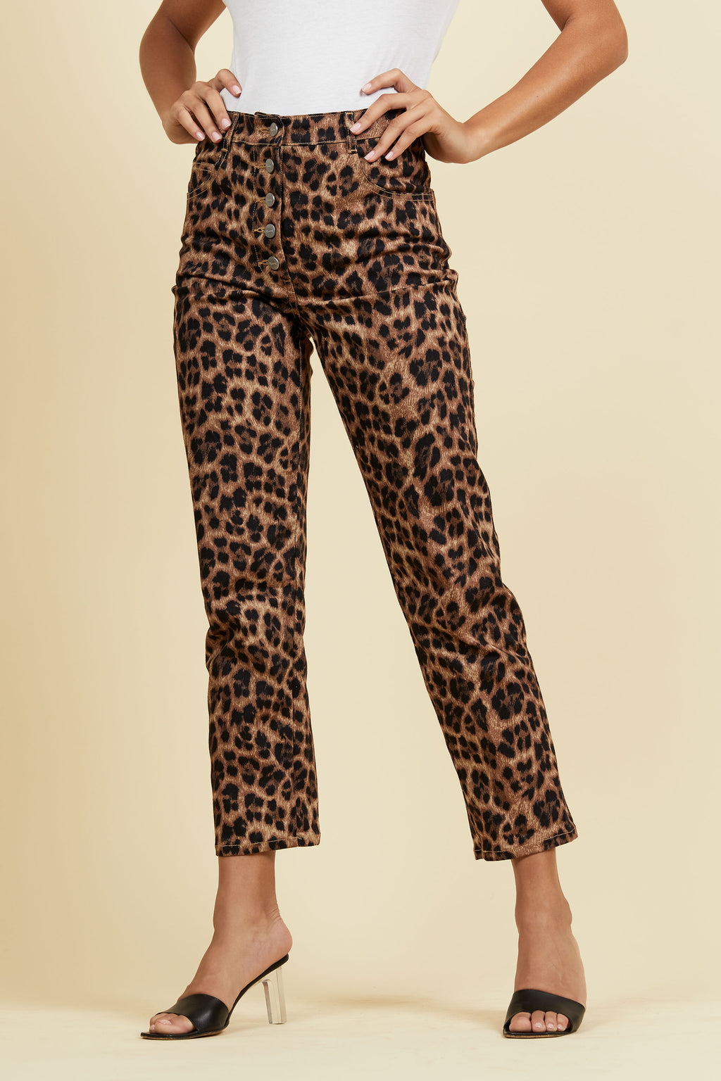 leopard print high waisted jeans