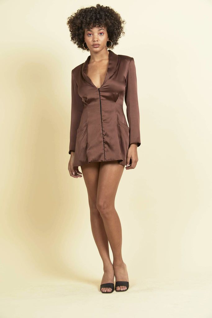 Margot Dress - Brown Silk