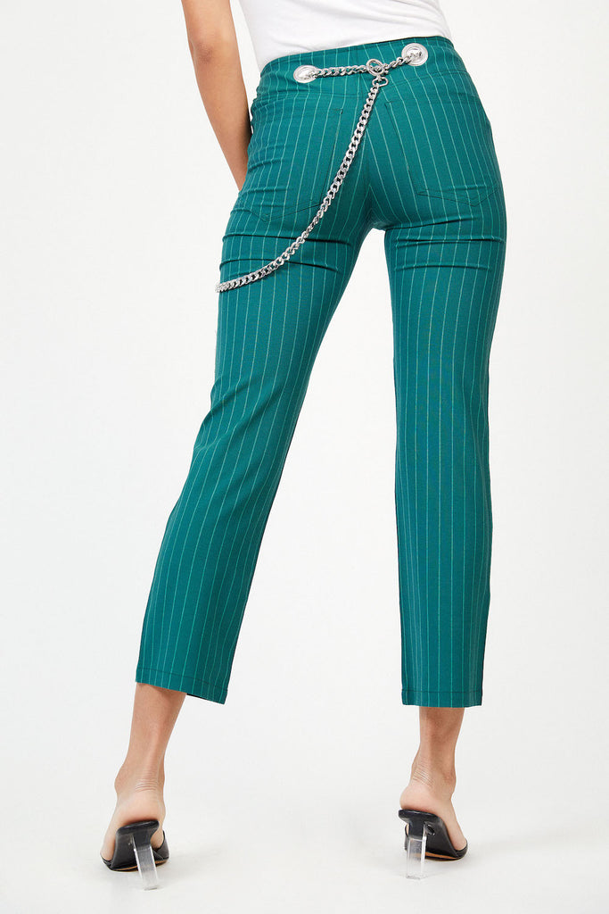 Tommy Pant - Emerald Pinstripe