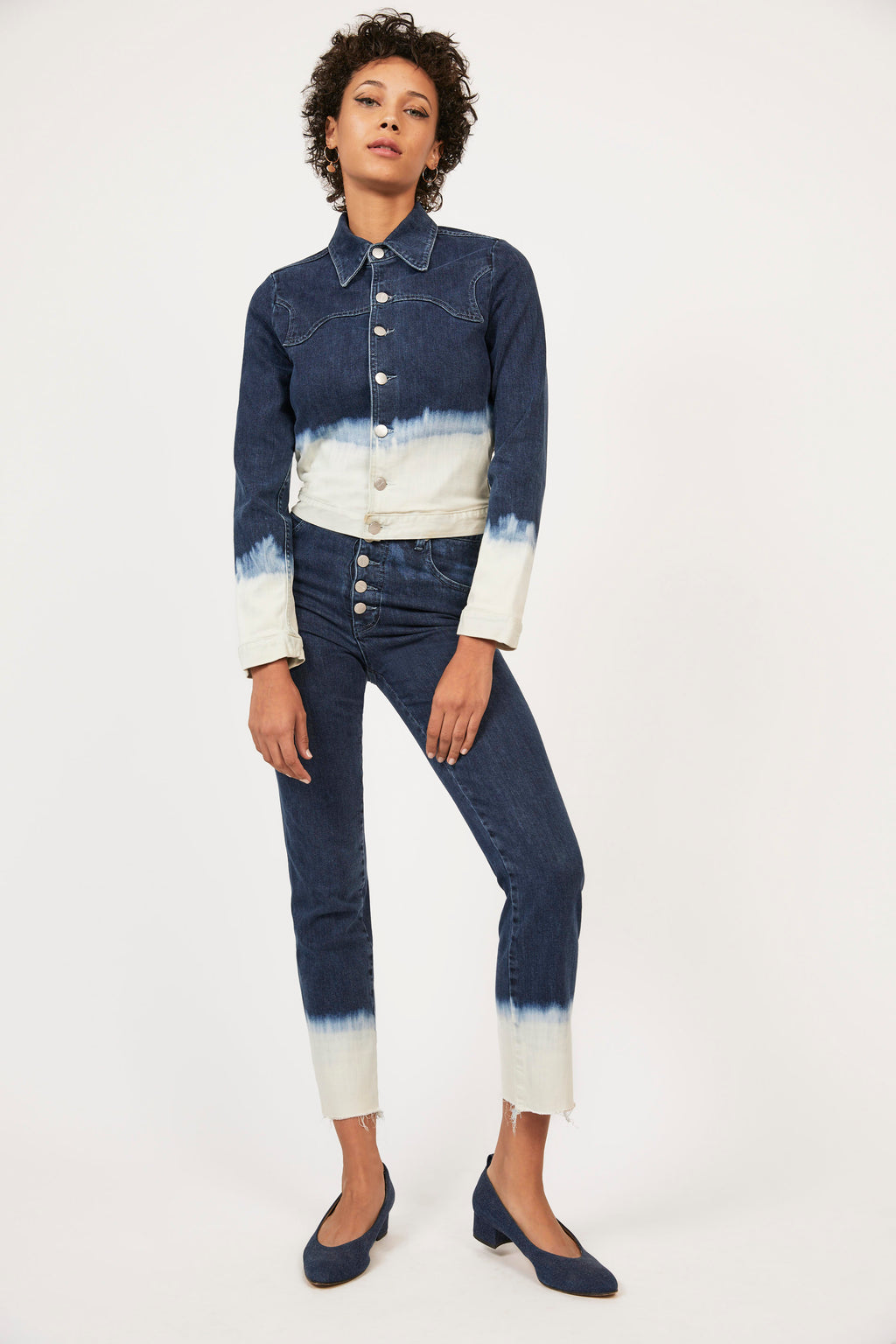 JUNIOR JEANS - INDIGO/WHITE DIP DYE
