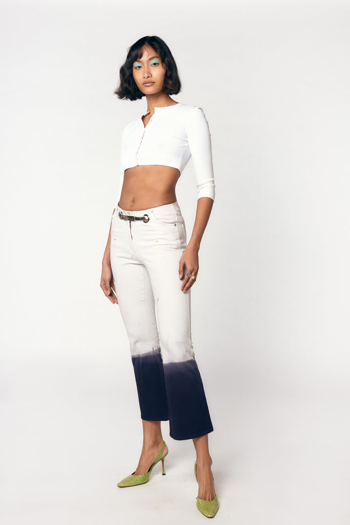 MORGAN PANTS - WHITE/INDIGO DIP DYE