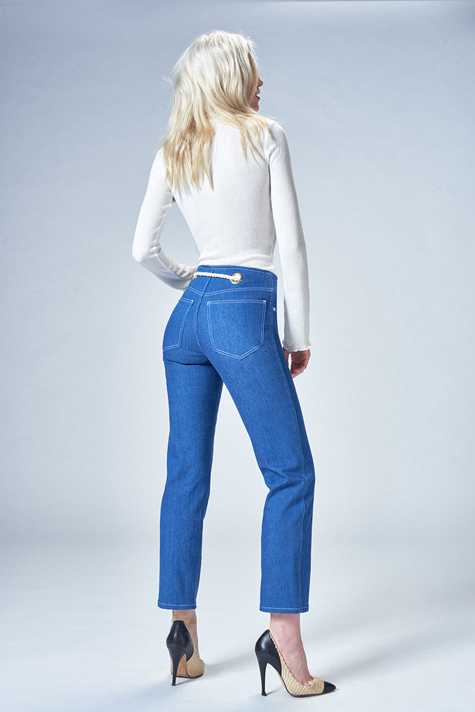 Tommy Indigo - a straight leg mid rise jean with grommeted details, fits sizes 23-32 perfectly