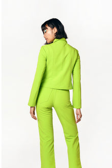 acid lime cropped jacket