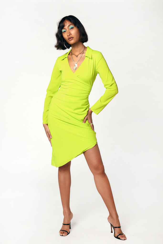 acid lime long sleeve deep v neck wrap dress