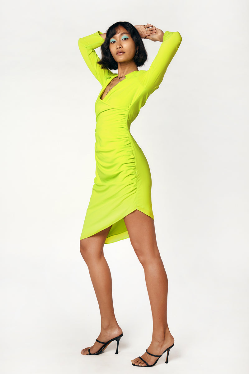 VANESSA DRESS - ACID LIME