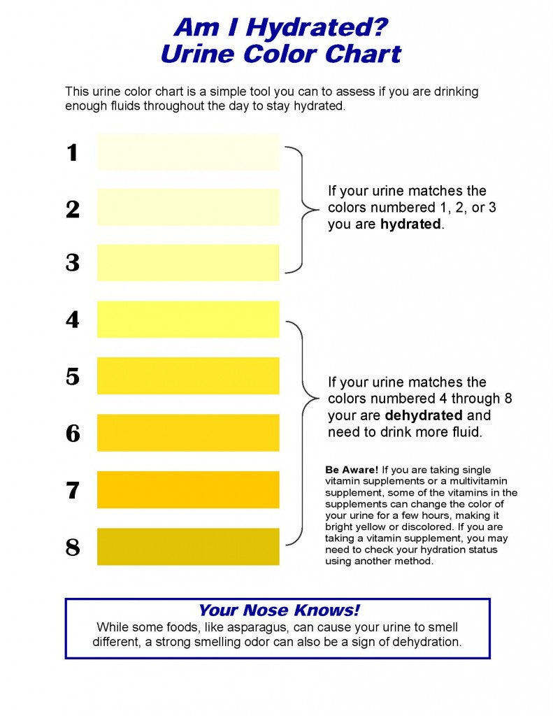 Hydration Chart - Urine Color Chart