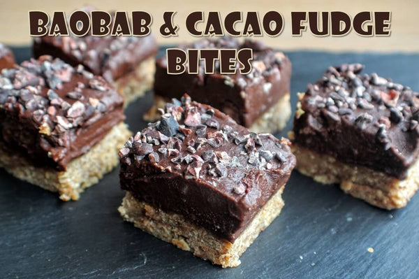 Raw Cacao, Baobab & Almond Butter Fudge Bites