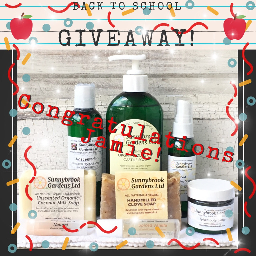 Back to School Giveaway! Enter to win our all natural and vegan friendly soaps and skincare to keep you clean and relaxed!