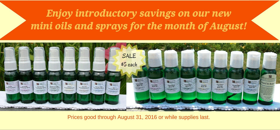 August Savings on our NEW Mini Freshening Sprays and Body Oils!