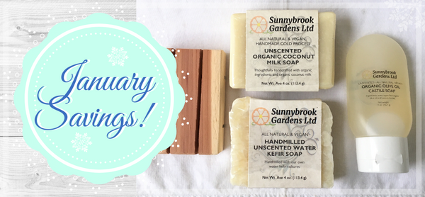 Enjoy savings on our soaps and skin care products to live healthy in the new year!