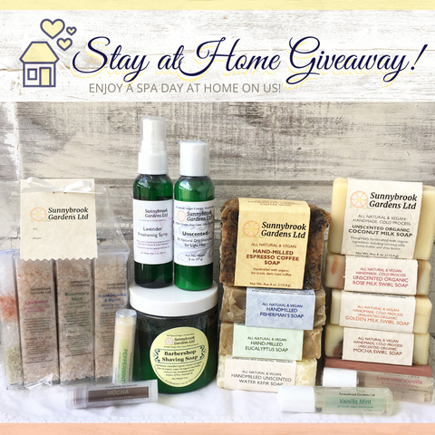 Enter to win our Stay at Home Giveaway of our all natural, vegan friendly soaps and skin care.