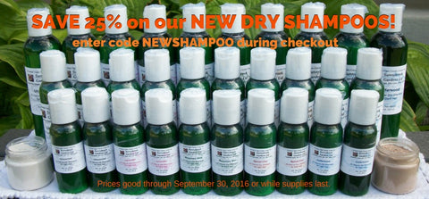 New all natural, vegan, non GMO, aluminum free, Dry Shampoos are now in stock!