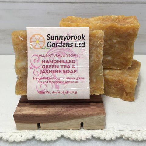 Enjoy our all natural, vegan friendly Hand-milled Green Tea and Jasmine Soap