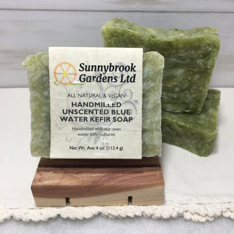 Hand-milled Unscented Blue Water Kefir Soap, vegan friendly