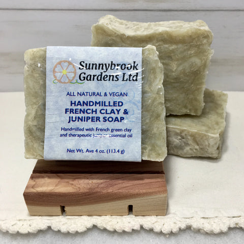 French Clay and Juniper Hand-milled Soap, handcrafted, all natural and vegan friendly
