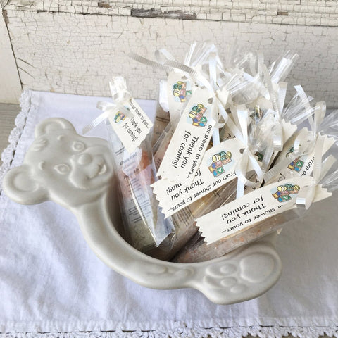 All Natural Mineral Bathing Salt Baby Shower Party Favors in bowl