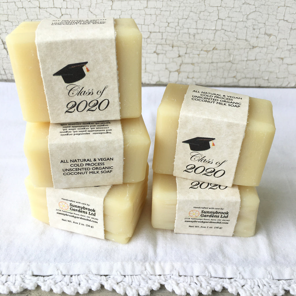 Graduation Cold Process Unscented Organic Coconut Milk Soap Party Favor Guest Soaps