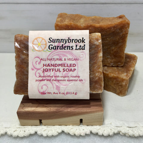 Hand-milled Joyful Soap with organic rosehip powder