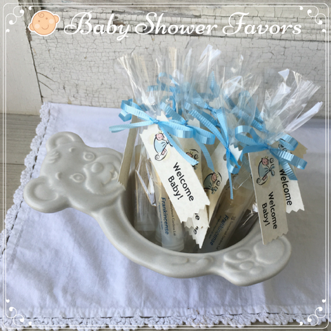 Baby Shower Party Favors, all natural, vegan Lip Balms with gift packaging