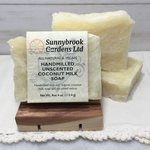 Hand-milled Unscented Coconut Milk Soap, all natural, vegan friendly