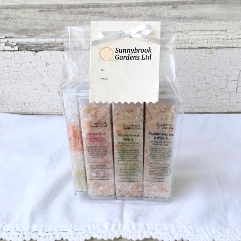 Mineral Bathing Salt Sampler Gift Set from Sunnybrook Gardens Ltd