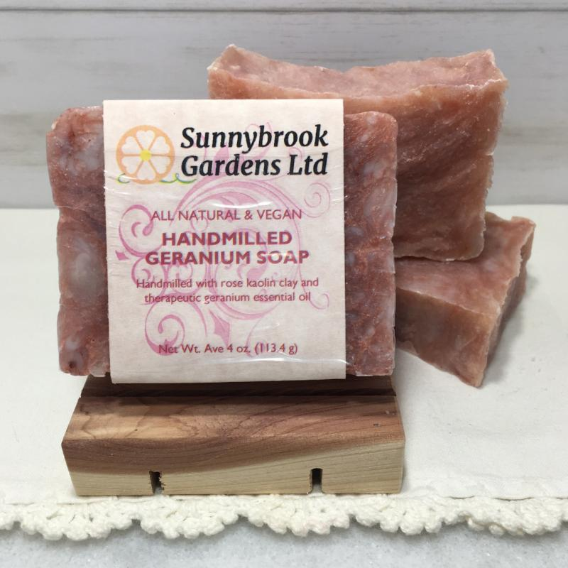 Enjoy our all natural, vegan friendly Hand-milled Geranium Soap