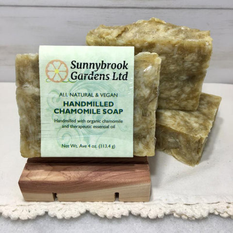 Enjoy our all natural, vegan friendly Hand-milled Chamomile Soap