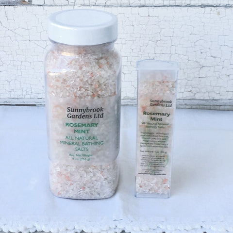 Rosemary Mint Mineral Bathing Salts, all natural and vegan friendly
