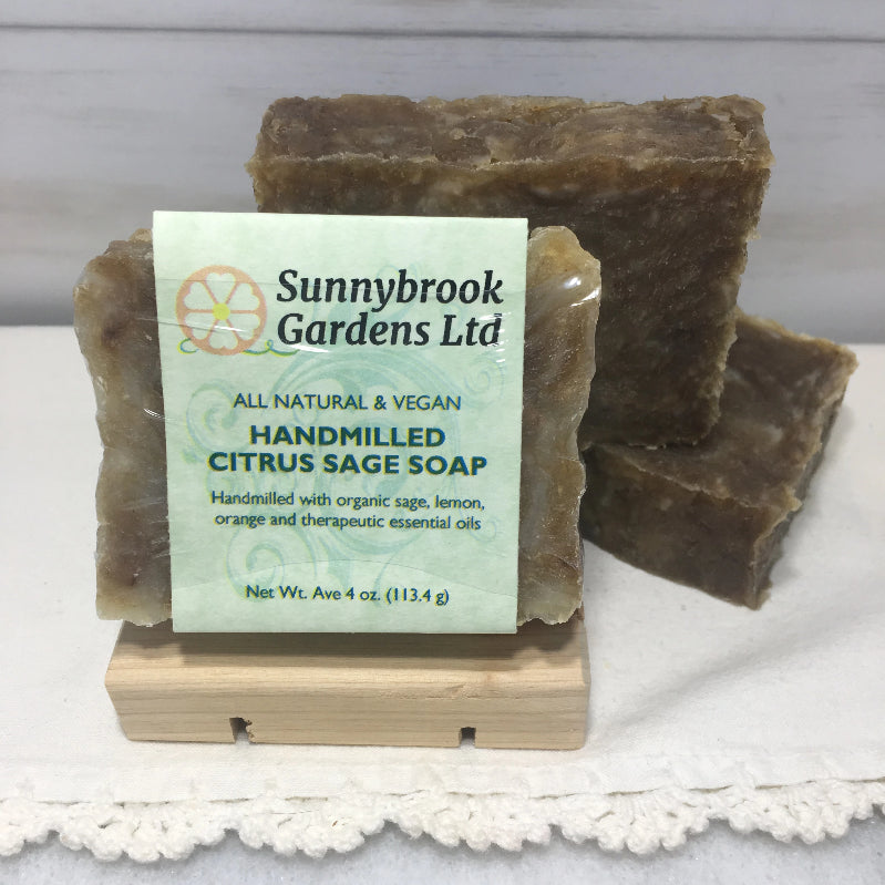 Enjoy our all natural, vegan friendly Hand-milled Citrus Sage Soap