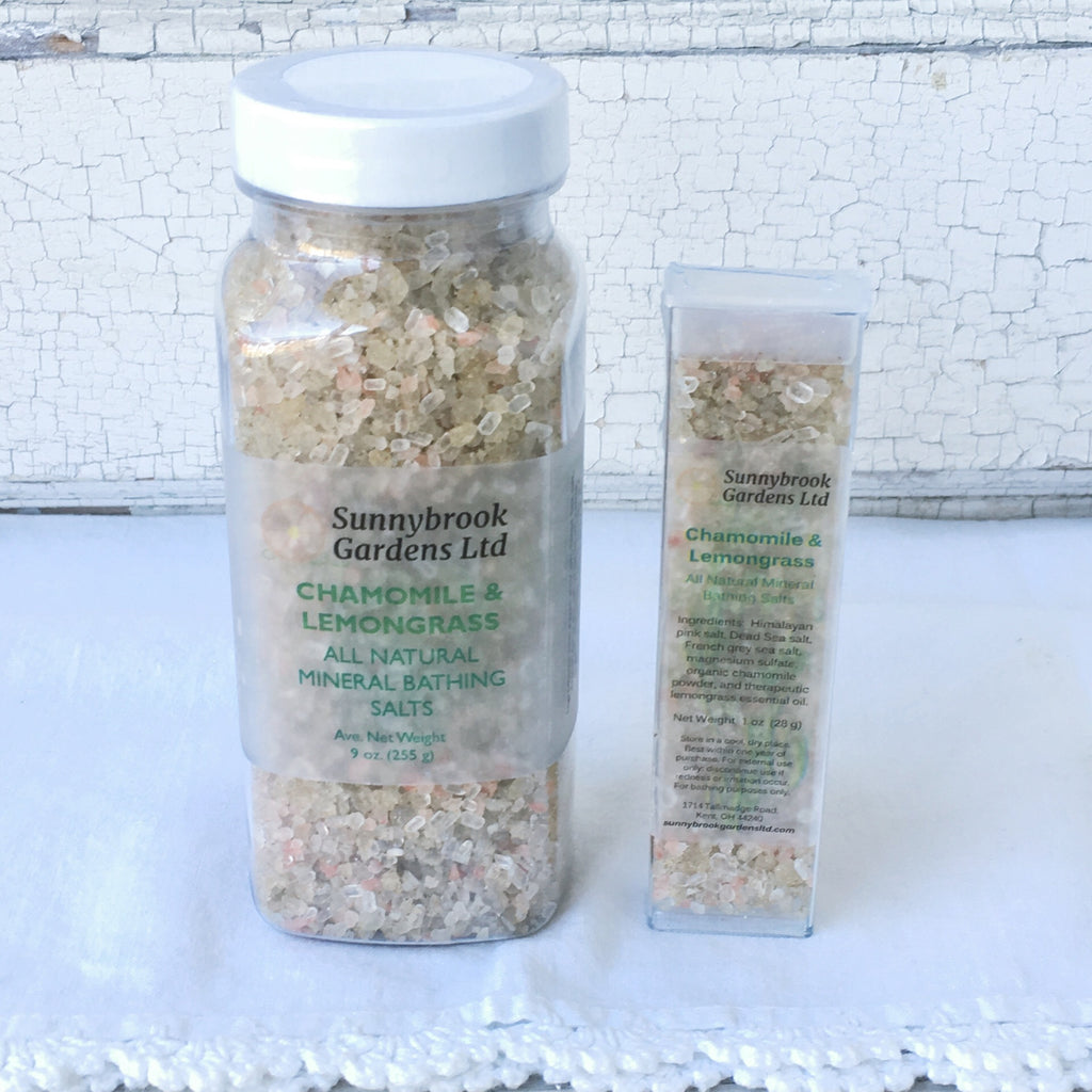 Chamomile Lemongrass Mineral Bathing Salts, all natural, spa quality