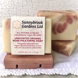 Cold Process Unscented Organic Rose Milk Swirl Soap