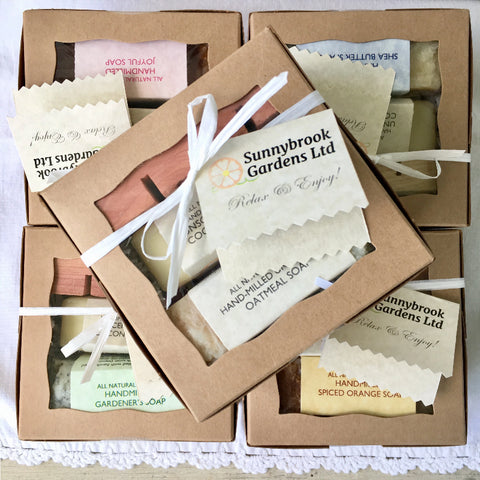 Enjoy our Small Gift Box with two soaps and a cedar soap dish too