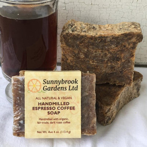 All natural, vegan Hand-milled Espresso Coffee Soap from Sunnybrook Gardens is a coffee lover's dream!