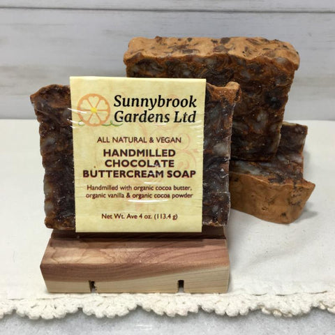 Enjoy our all natural, vegan friendly Hand-milled Chocolate Buttercream Soap