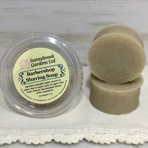 All natural, vegan friendly Shaving Soap Round by Sunnybrook Gardens Ltd