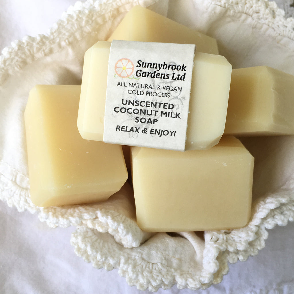Enjoy our all natural, vegan friendly, cold process Unscented Coconut Milk Guest Soaps
