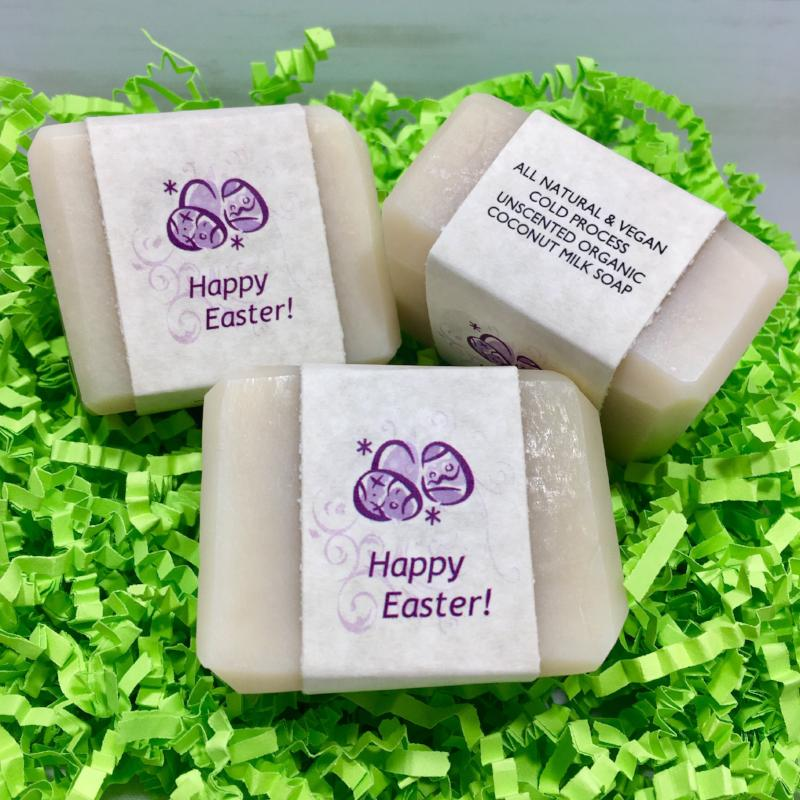 Enjoy our Happy Easter Unscented Cold Process Organic Coconut Milk Guest Soaps