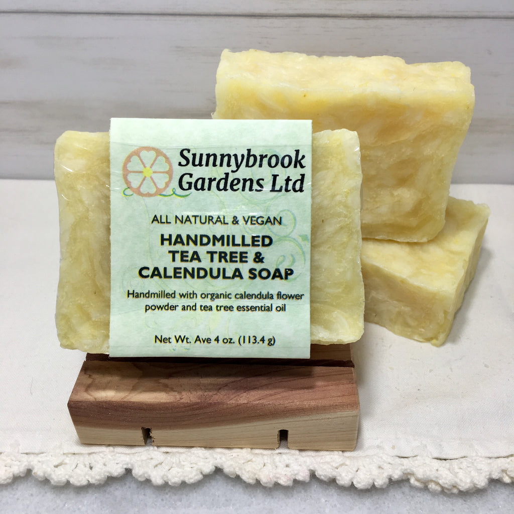 Tea Tree and Calendula Hand-milled Soap, handcrafted, all natural and vegan friendly