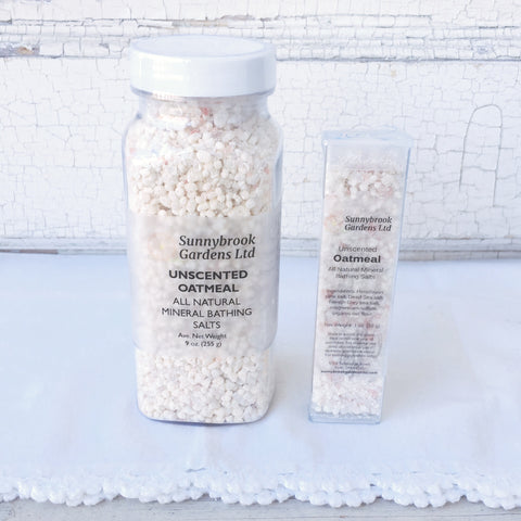 Unscented Oatmeal Mineral Bathing Salts, handcrafted, all natural and vegan friendly